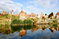 Ruins of gdansk the view from the other side the river motlawa the granaries Stock Photography