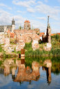 Ruins of gdansk the view from the other side the river motlawa the granaries Stock Photos