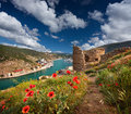 The ruins of the Genoese fortress Royalty Free Stock Photo