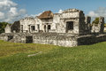Ruins of the great palace and mayan fortress and temple tulum mexico Royalty Free Stock Photo