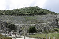 Ruins of great theater in ephesus tourists visiting turkey Stock Photos