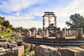 Ruins of Greek temple of Athena in Delphi Royalty Free Stock Photo