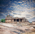 Ruins in hampi ancient of vijayanagara empire at blue sky karnataka india Stock Images