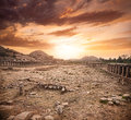 Ruins in hampi ancient of vijayanagara empire at dramatic sky karnataka india Stock Photography
