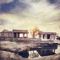 Ruins in hampi ancient of vijayanagara empire at sunset sky karnataka india Stock Images