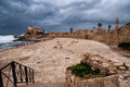 Ruins of harbor at Caesarea Royalty Free Stock Photography