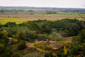 The ruins of the house in jungle from height bird s flight Royalty Free Stock Photo