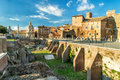 Ruins of the Imperial forums (Fori Imperiali) in Rome Royalty Free Stock Photo