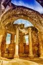 Ruins inside the great baths at villa adriana hadrian s villa roman tivoli italy Royalty Free Stock Photos