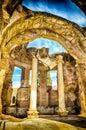 Ruins inside the great baths at villa adriana hadrian s villa roman tivoli italy Royalty Free Stock Photo