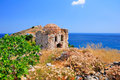 Ruins in kastro old metropolis of skiathos interesting fact from distance its features resemble a face a slight case pareidolia Stock Image