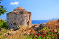 Ruins in kastro old metropolis of skiathos interesting fact from distance its features resemble a face a slight case pareidolia Stock Photo