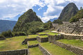 Ruins of machu picchu view the and sacred valley in peru Stock Images
