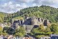 Ruins of medieval castle in La Roche-en-Ardenne Royalty Free Stock Photo