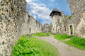 The ruins of nevitsky castle nevytsky towering over uzh river ukraine Stock Photo