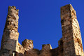 Ruins of old castle of knights templar in spain the alcala de xivert Royalty Free Stock Image