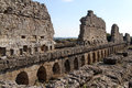 Ruins of old long building in agora aspendos turkey Royalty Free Stock Photos