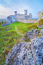 The ruins of old medieval castle on rocks ogrodzieniec in poland krakow czestochowa upland trail eagles nests at polish jurassic Royalty Free Stock Photo