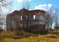 The ruins of the old time provincial church remains orthodox in russian province Stock Photography