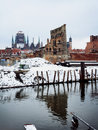 Ruins of old town in gdansk poland at frosty winter Stock Image