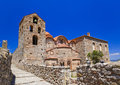 Ruins of old town in Mystras, Greece Stock Photo