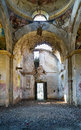 Ruins of an orthodox church interior from abandoned in gostineni romania Royalty Free Stock Image