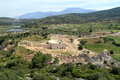 Ruins in patara of theater odeon and temples turkey Stock Photography