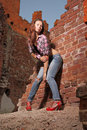 On the ruins portrait of attractive girl witch old Royalty Free Stock Photography