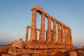 Ruins of Poseidon temple on Sounion cape at dawn