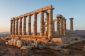 Ruins of Poseidon temple on Sounion cape at dawn Royalty Free Stock Photo
