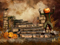 Ruins with a pumpkin monster fantasy candles and raven Royalty Free Stock Image