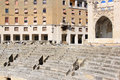 Ruins of roman amphitheatre downtown in lecce italy piazza sant oronzo the italian town summarizes an urban salon many centuries Stock Photos