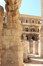 Ruins of roman amphitheatre lecce italy piazza sant oronzo downtown in the italian town summarizes in an urban salon many Royalty Free Stock Photography