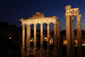 Ruins of the Roman Forum by night Royalty Free Stock Photo