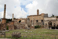 Ruins of Roman Forum in Rome Stock Photo