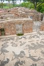 Ruins of roman thermal pool with mosaic details in the old town ostia rome italy an ancient establishment on the floor heritage Stock Image