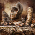 Ruins of a shrine fantasy with head statue Royalty Free Stock Photo
