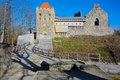 Ruins of sigulda castle medieval in latvia built in as a castellum type fortress by the livonian brothers the sword who were Stock Photography
