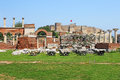 Ruins of st. Johns Basilica and the Roman Fortress Royalty Free Stock Image