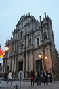 Ruins of St Paul in Macau at night Royalty Free Stock Photography