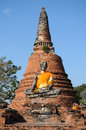 Ruins statue buddha with pagoda background ayutthaya historical park thailand Royalty Free Stock Photos