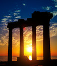 Ruins on sunset side antalya ancient turkey Royalty Free Stock Photography