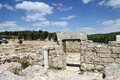 Ruins of the synagogue of the st century ad israel settlement anim Royalty Free Stock Photos