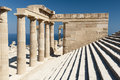 Ruins of temple of athena lindia in lindos Royalty Free Stock Photos