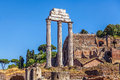 The ruins of the temple of castor and pollux in roman forum Royalty Free Stock Images