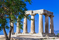 Ruins of temple in Corinth, Greece Stock Photos