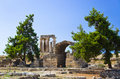 Ruins of temple in Corinth, Greece Royalty Free Stock Images