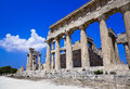 Ruins of temple on island Aegina, Greece Royalty Free Stock Images
