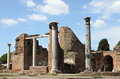 Ruins of a temple in ostia antica the old harbour rome italy Royalty Free Stock Photo