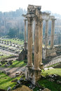 Ruins of Temple of Vespasian and Titus in Rome Royalty Free Stock Photo